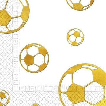 Obrázek Party ubrousky fotbal Gold party, 15 ks