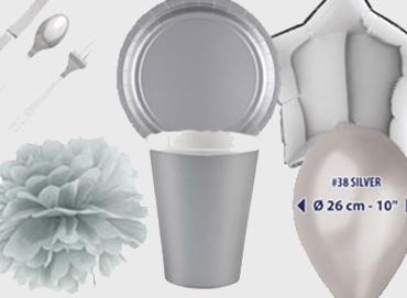 Obrázek pro kategorii Party dekorace a stolování - stříbrná barva