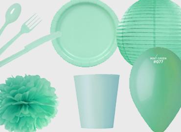 Obrázek pro kategorii Party dekorace a stolování - mint barva