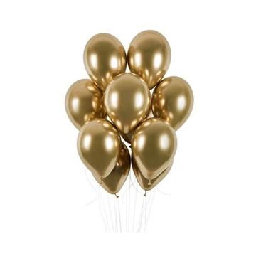 Obrázek Latexové balonky chrome zlaté 33 cm, 50 ks