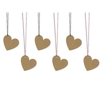 Obrázek Hnědé ozdobné visačky ve tvaru srdce - 6 ks