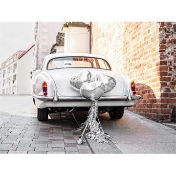 Obrázek Dekorační sada na auto - stříbrné srdce