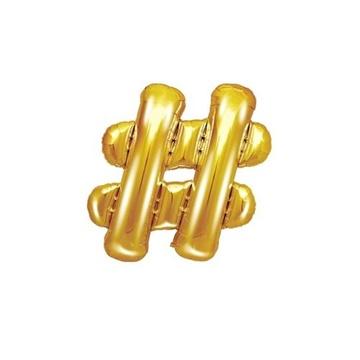 Obrázek Foliový symbol Hashtag zlatý 35 cm