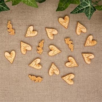Obrázek Dřevěné konfety srdce 25 ks