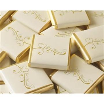 Obrázek Svatební čokoládka - zlatá Just Married Srdíčka