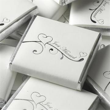 Obrázek Svatební čokoládka - stříbrná Just Married Srdíčka