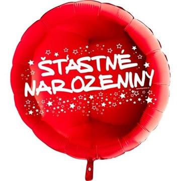 Obrázek Foliový balonek kruh Šťastné narozeniny - červený 45 cm