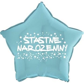 Obrázek Foliový balonek hvězda Šťastné narozeniny - světle modrá 45 cm