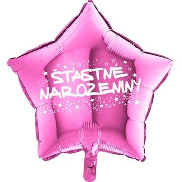 Obrázek Foliový balonek hvězda Šťastné narozeniny - růžová 45 cm