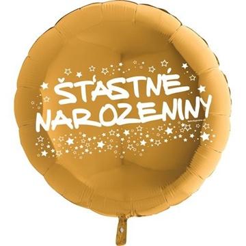 Obrázek Foliový balonek kruh Šťastné narozeniny - zlatý 45 cm