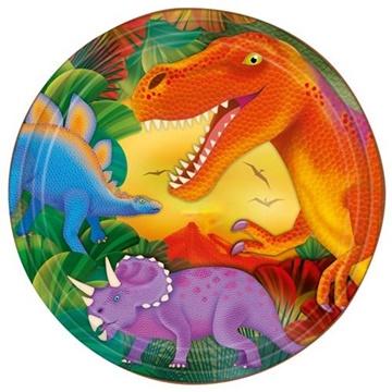 Obrázek Papírové party talíře dino - metalické 23 cm