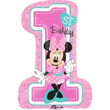 Obrázek Foliový balonek 1st birthday Minnie 48 x 71 cm