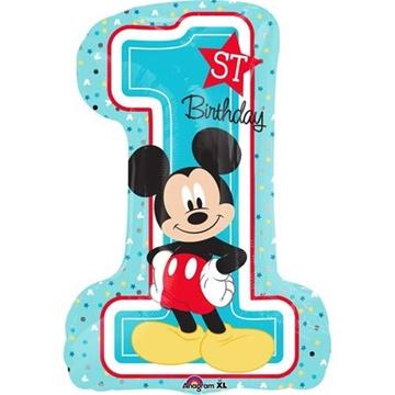 Obrázek Foliový balonek 1st birthday Mickey 48 x 71 cm