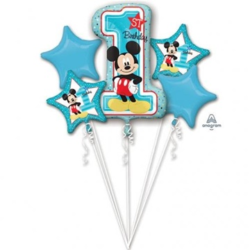 Obrázek Sada foliových balonků 1st birthday Mickey - 5 ks