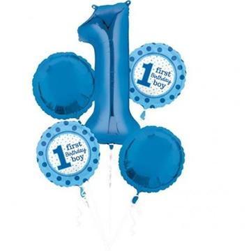 Obrázek Sada foliových balonků 1st birthday chlapeček - 5 ks