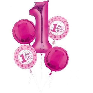 Obrázek Sada foliových balonků 1st birthday holčička - 5 ks