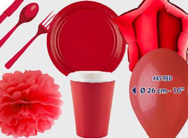 Obrázek pro kategorii Party dekorace a stolování - červená barva