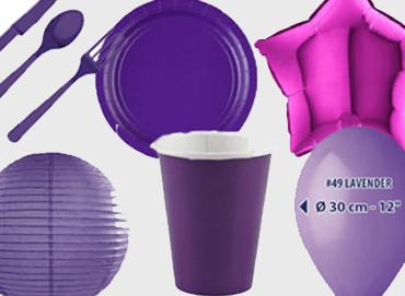 Obrázek pro kategorii Party dekorace a stolování - fialová barva
