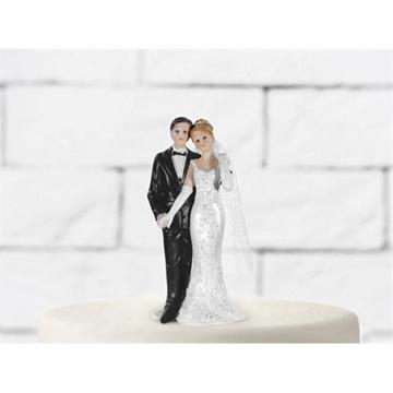 Obrázek Svatební figurky na dort - držící se za ruku 11 cm