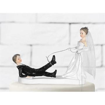 Obrázek Svatební figurky na dort - uvázán za nohu 11 cm