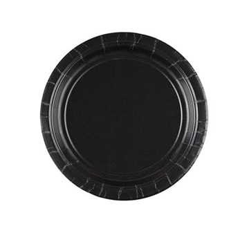 Obrázek Papírové talíře černé 18 cm - 8 ks