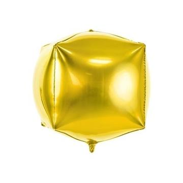 Obrázek Foliový balonek krychle zlatá 35 cm