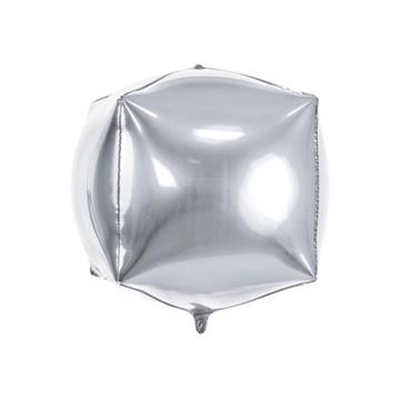 Obrázek Foliový balonek krychle stříbrná 35 cm