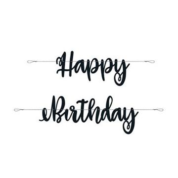 Obrázek Party nápis černý Happy Birthday 213 cm
