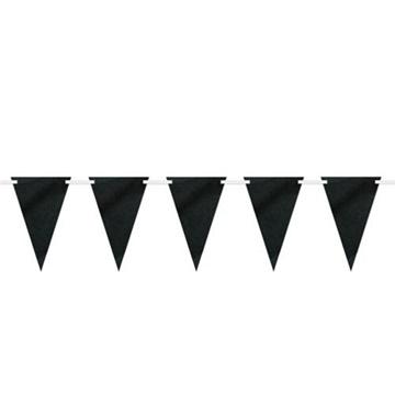 Obrázek Vlaječková girlanda papírová černá s křídou 274 cm