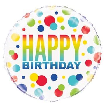 Obrázek Foliový balonek barevné tečky Happy Birthday 46 cm