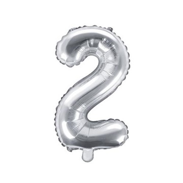 Obrázek Foliová číslice - stříbrná 2 - 35 cm