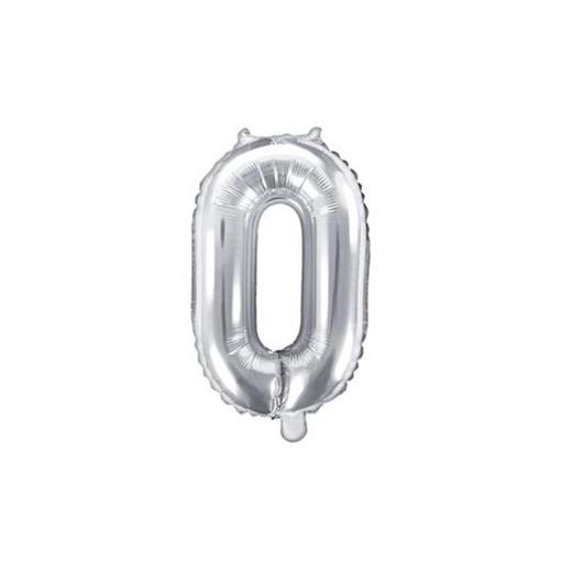 Obrázek z Foliová číslice - stříbrná 0 - 35 cm