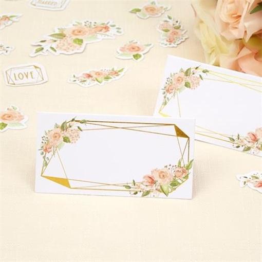 Obrázek z Jmenovky ke svatebnímu stolu zlatý rámeček s růží 25 ks