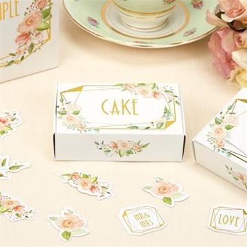 Obrázek Dárkové svatební krabičky bílé s růží Cake - 10 ks