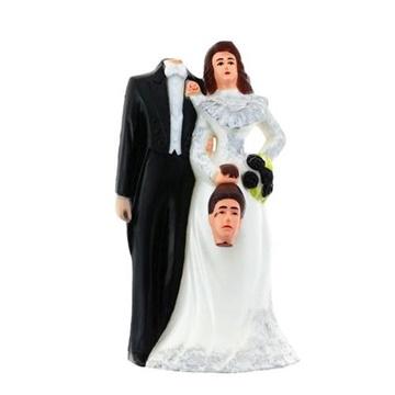 Obrázek Svatební figurky na dort - nevěsta a bezhlavý ženich 11 cm