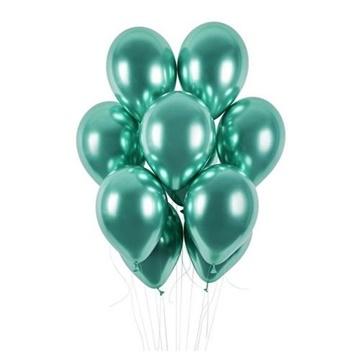 Obrázek Latexové balonky chrome zelené 33 cm - 50 ks