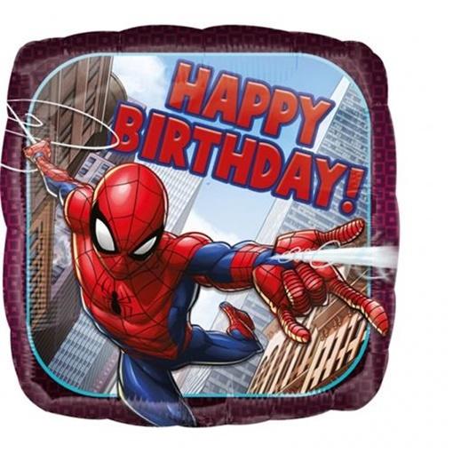 Obrázek z Foliový balonek čtverec Spiderman Happy Birthday 43 cm