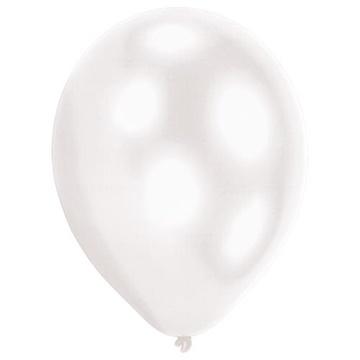 Obrázek Dekorační LED svíticí balonky bílé 28 cm - 5 ks