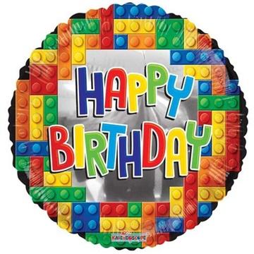 Obrázek Foliový balonek Stavebnice Happy Birthday 45 cm