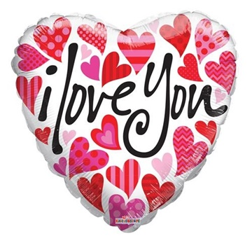 Obrázek Foliový balonek srdce - bílé se srdíčky - I love you 45 cm