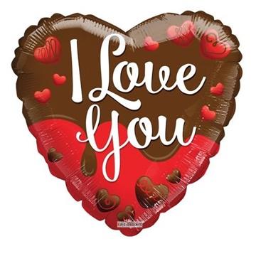 Obrázek Foliový balonek srdce - čokoládové - I love you 45 cm