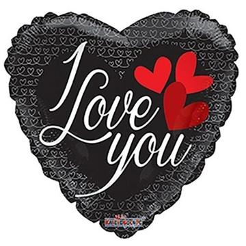 Obrázek Foliový balonek srdce - černé - I love you 46 cm