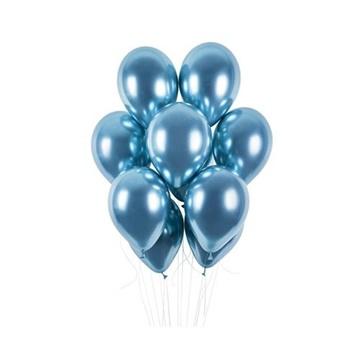 Obrázek Latexové balonky chrome modré 33 cm - 50 ks