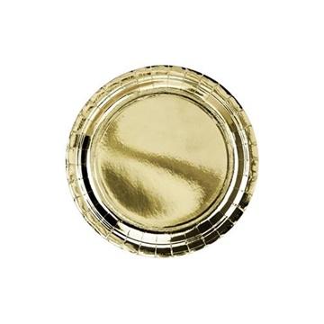 Obrázek Papírové talíře metalické zlaté 23 cm - 6 ks