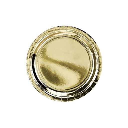 Obrázek z Papírové talíře metalické zlaté 23 cm - 6 ks