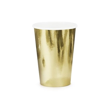 Obrázek Papírové party kelímky metalické zlaté 6 ks