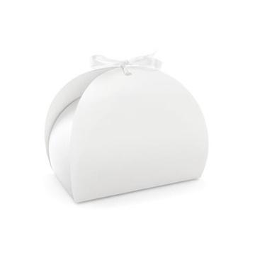 Obrázek Krabička na výslužku kulatá bílá s mašlí - 10 ks