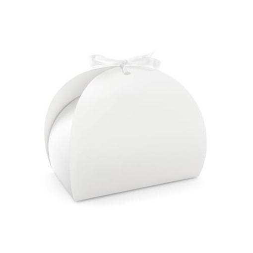 Obrázek z Krabička na výslužku kulatá bílá s mašlí - 10 ks
