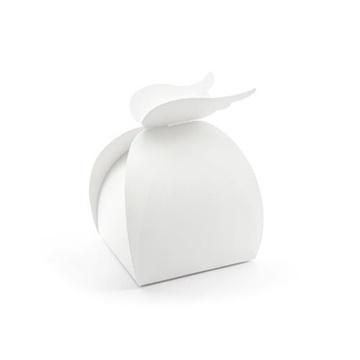 Obrázek Krabička na výslužku kulatá bílá s křídly - 10 ks