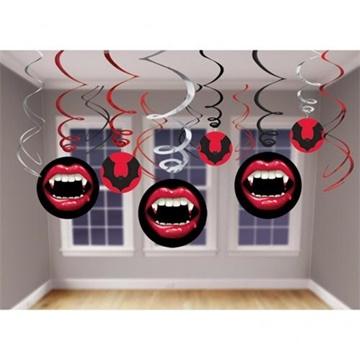 Obrázek Závěsná spirály Halloween - upír 12 ks